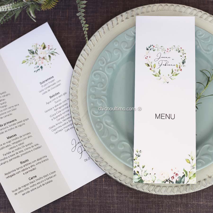Menu vertical dobrado 10x28cm - papelaria exclusiva dos convites