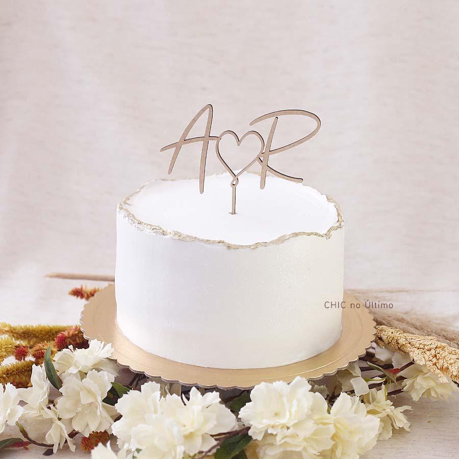 Minimalista - Topo de bolo personalizado de madeira