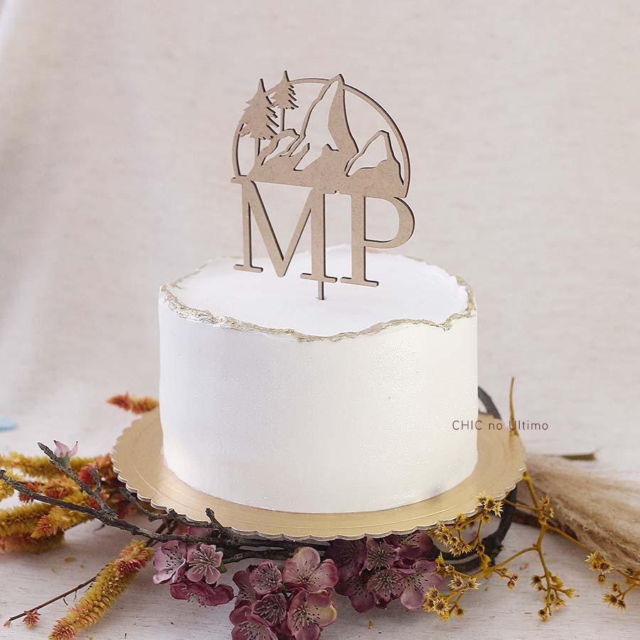 Montanha - Topo de bolo personalizado de madeira