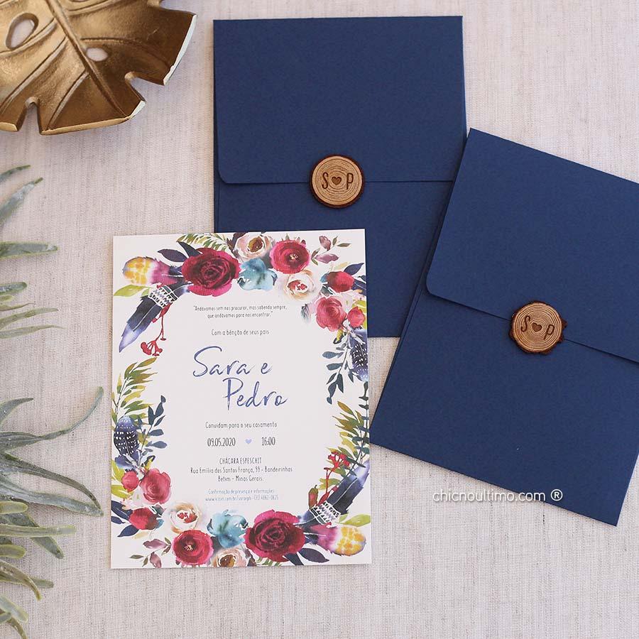 Navy Boho - Convite Pronto