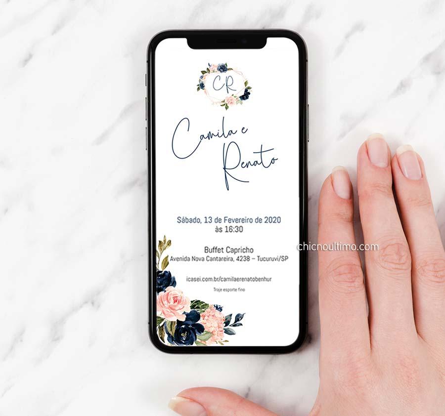 Navy | Convite ou Save the Date - arte virtual