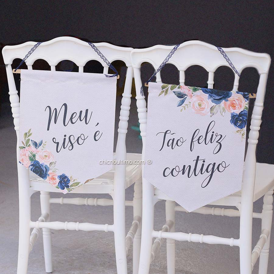 Navy - Flâmula de tecido cadeira noivos