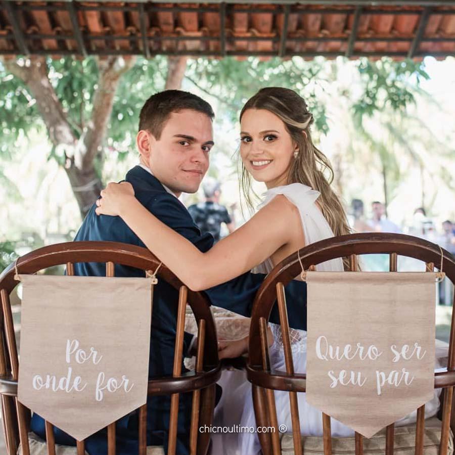Palha - Flâmula de tecido cadeira noivos