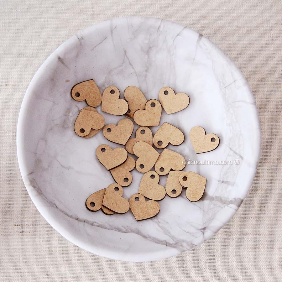 Pingente madeira mini Coração