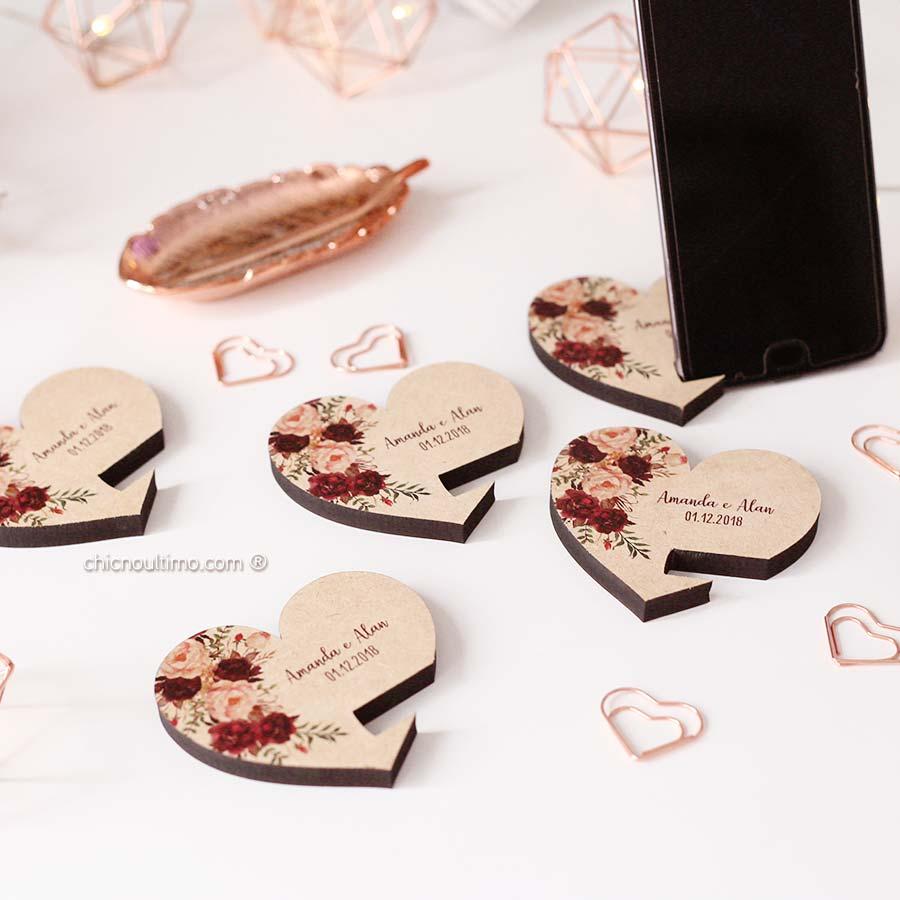 Porta Celular - Coração Marsala