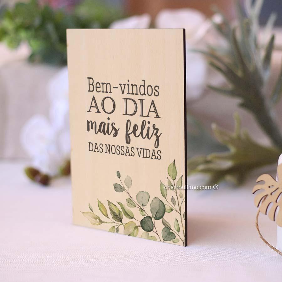 Quadro de Madeira - Bem-vindo Botânica