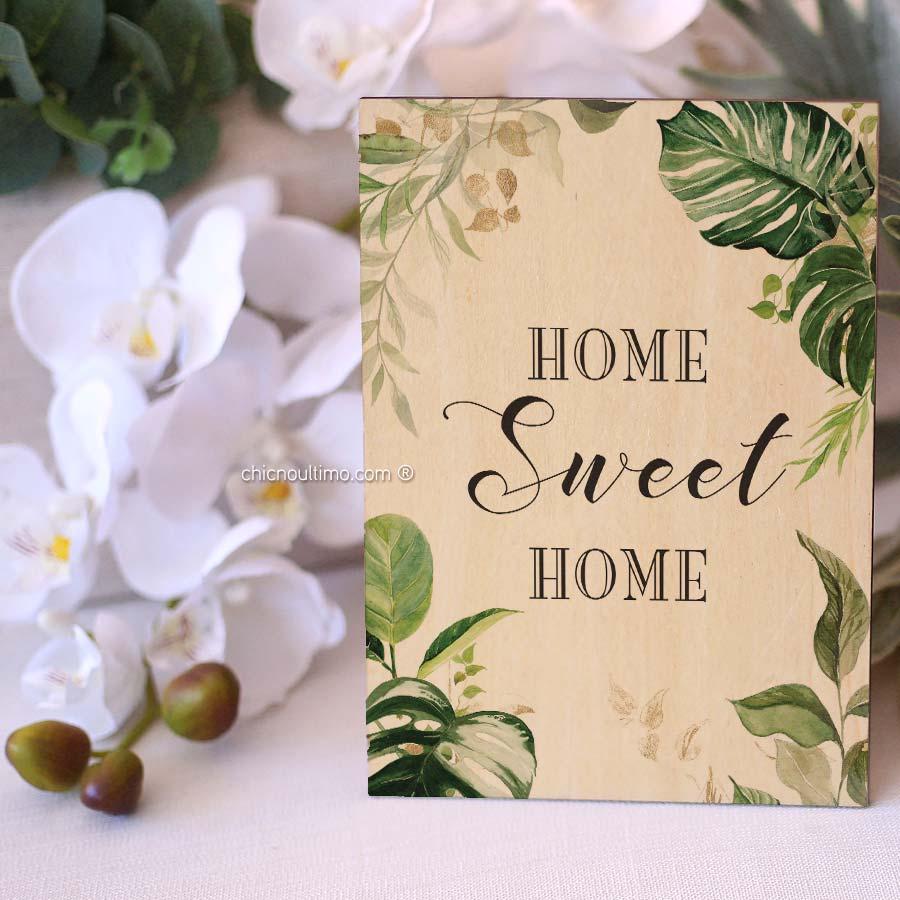 Quadro de Madeira - Sweet Home Botânica