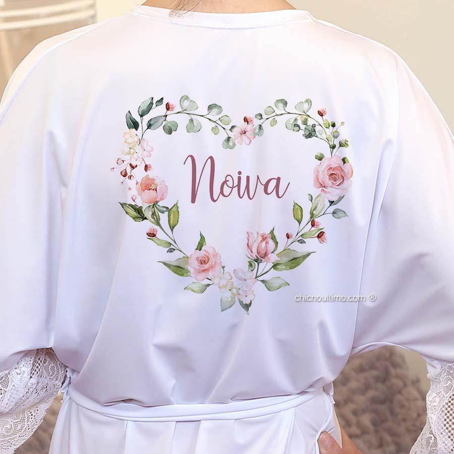 Robe noiva branco com renda - estampa Blush