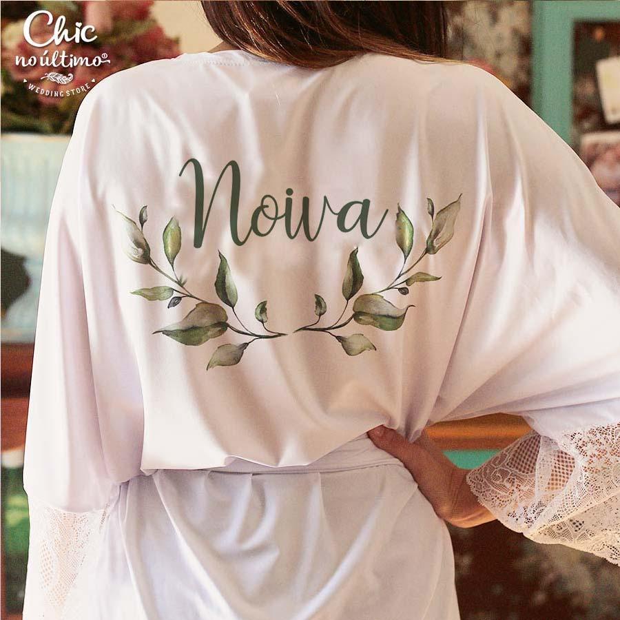 Robe noiva branco com renda - estampa Botânica