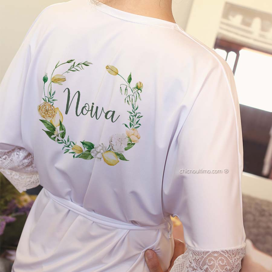 Robe noiva branco com renda - estampa Lemon