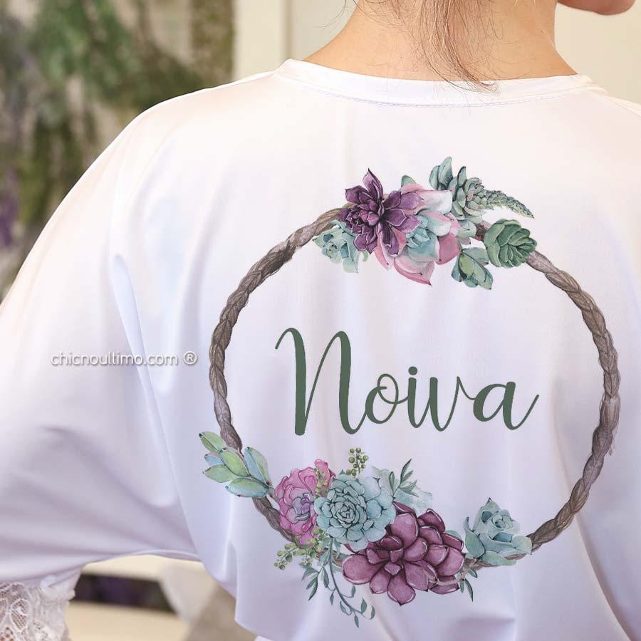Robe noiva branco com renda - estampa Suculentas