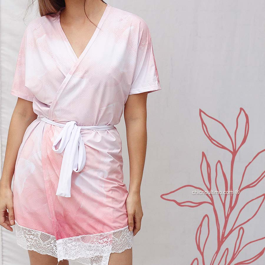 Robe noiva estampado com renda Aquarela Blush