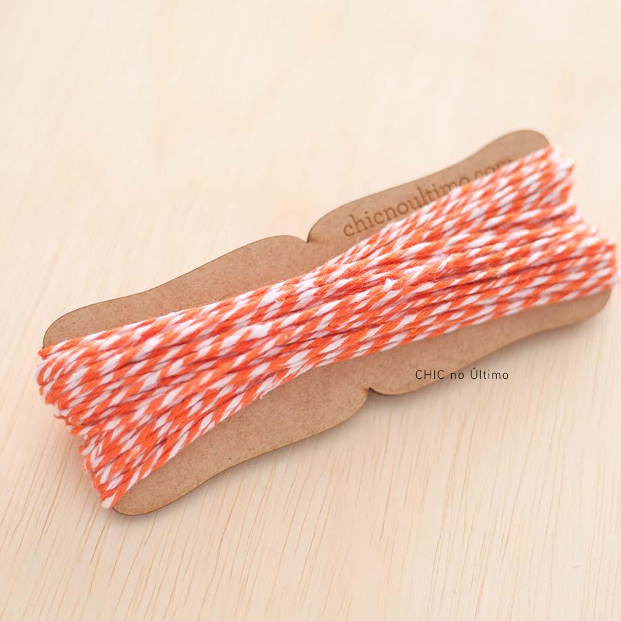 Rolo fio bicolor algodão | Laranja | 20 metros