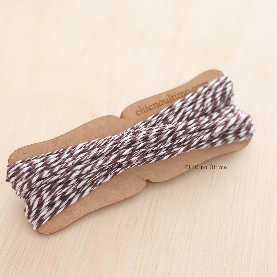 Rolo fio bicolor algodão | Marrom | 20 metros