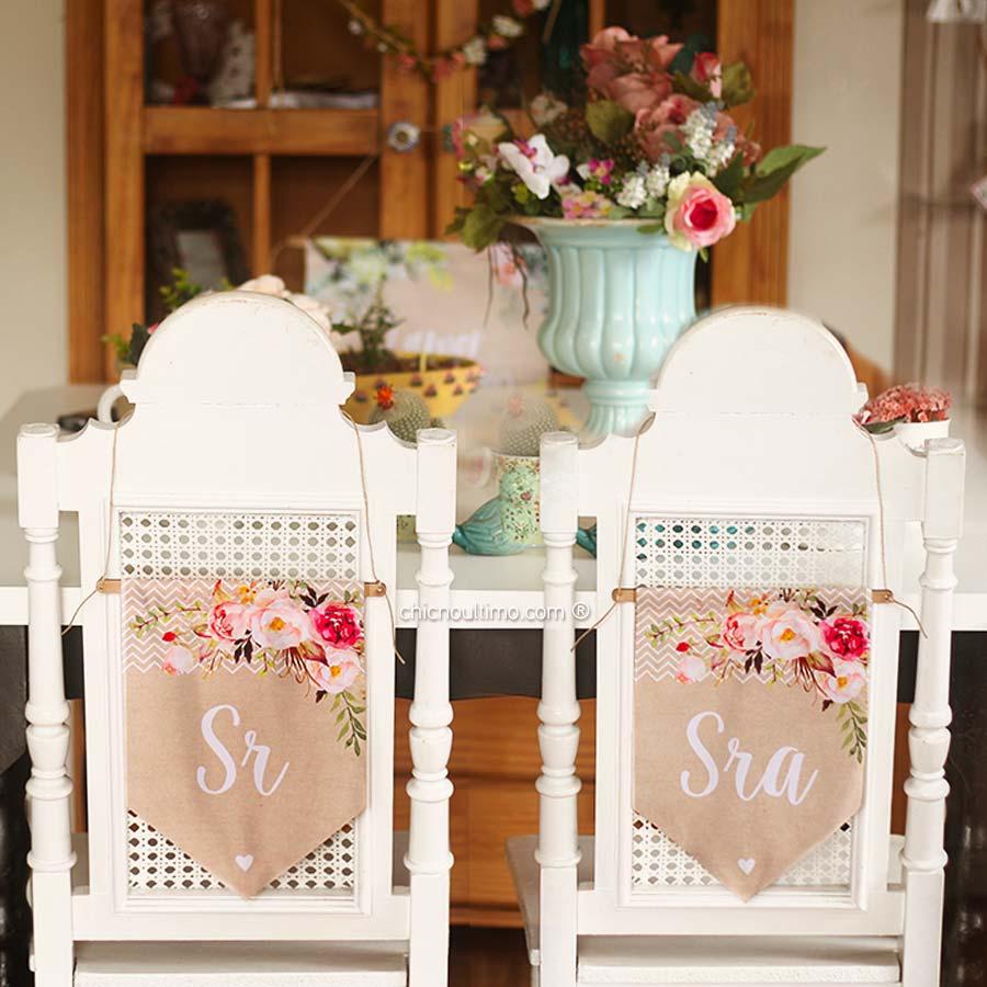 Romance - Flâmula de tecido cadeira noivos