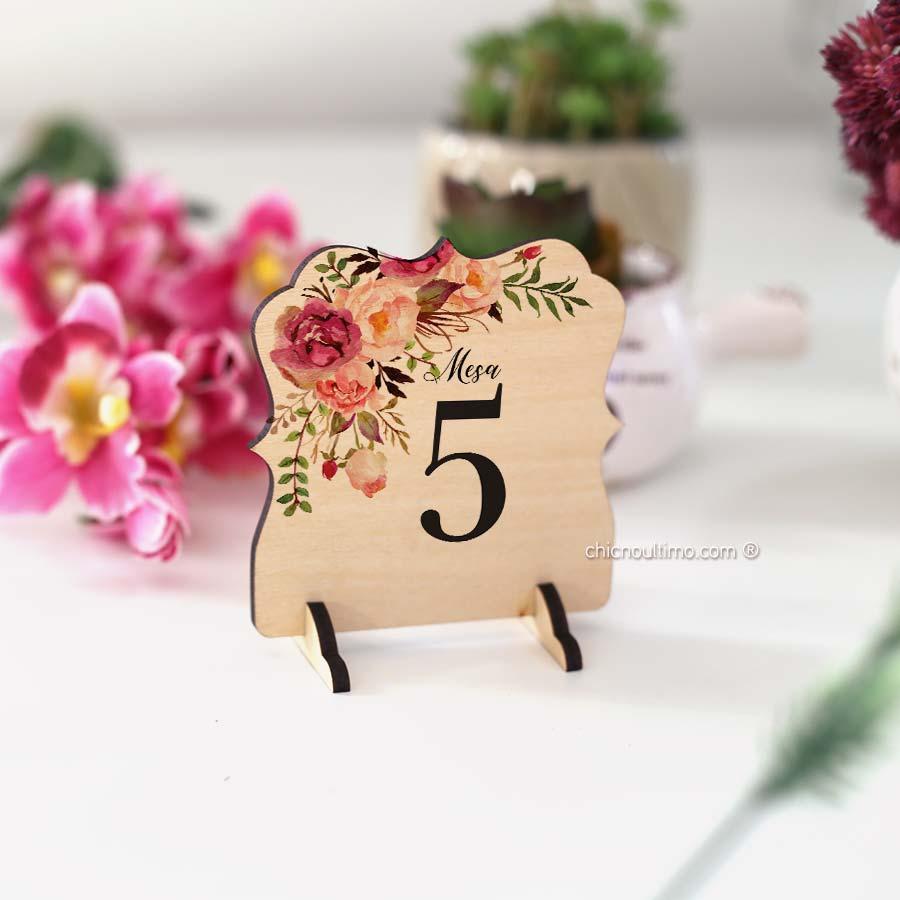 Romance - Numeração de mesa madeira