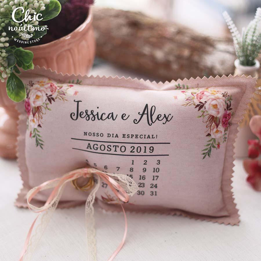 Romance - Porta Alianças de tecido calendário