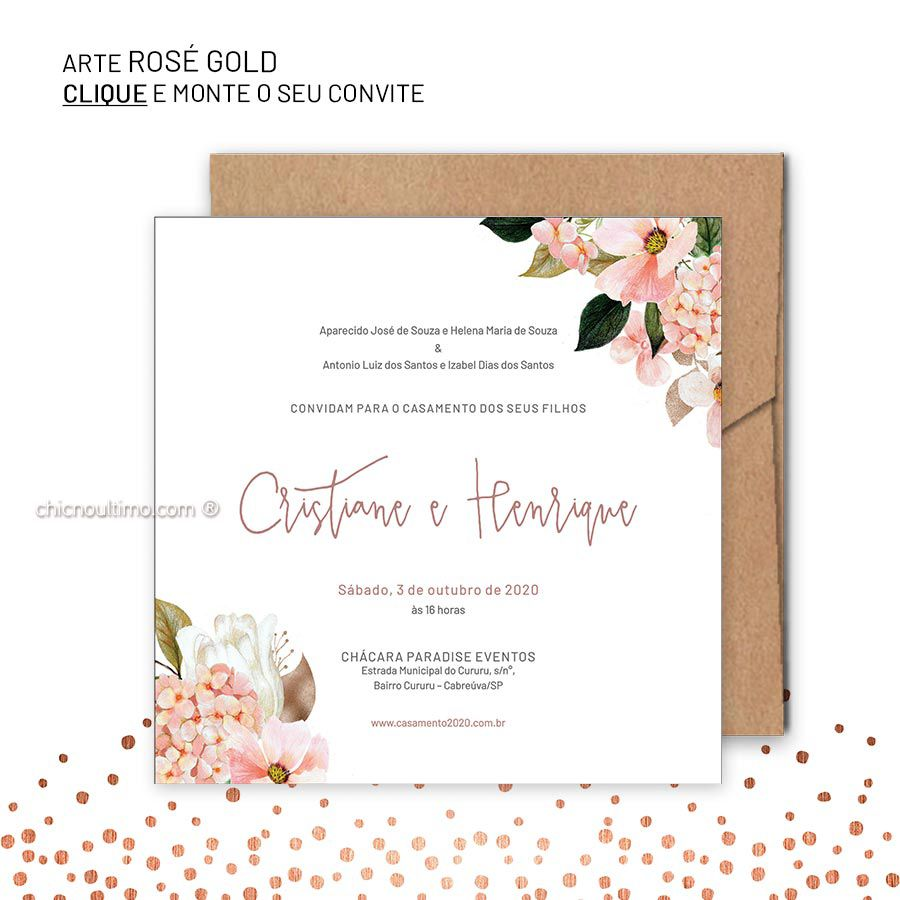 Rosé Gold - Convite Base