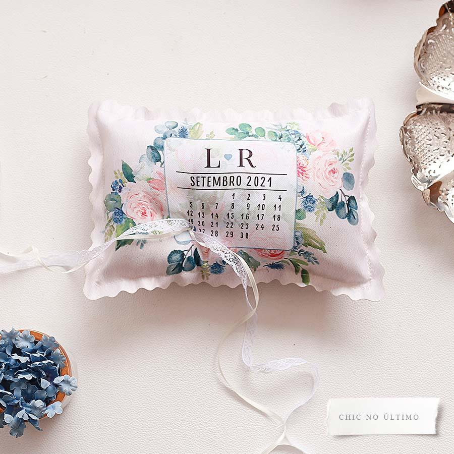 Serenity - Porta Alianças de tecido calendário