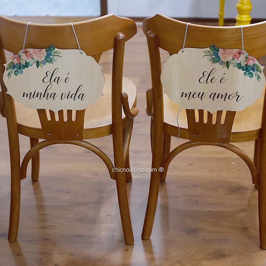 Serenity - Placa cadeira noivos