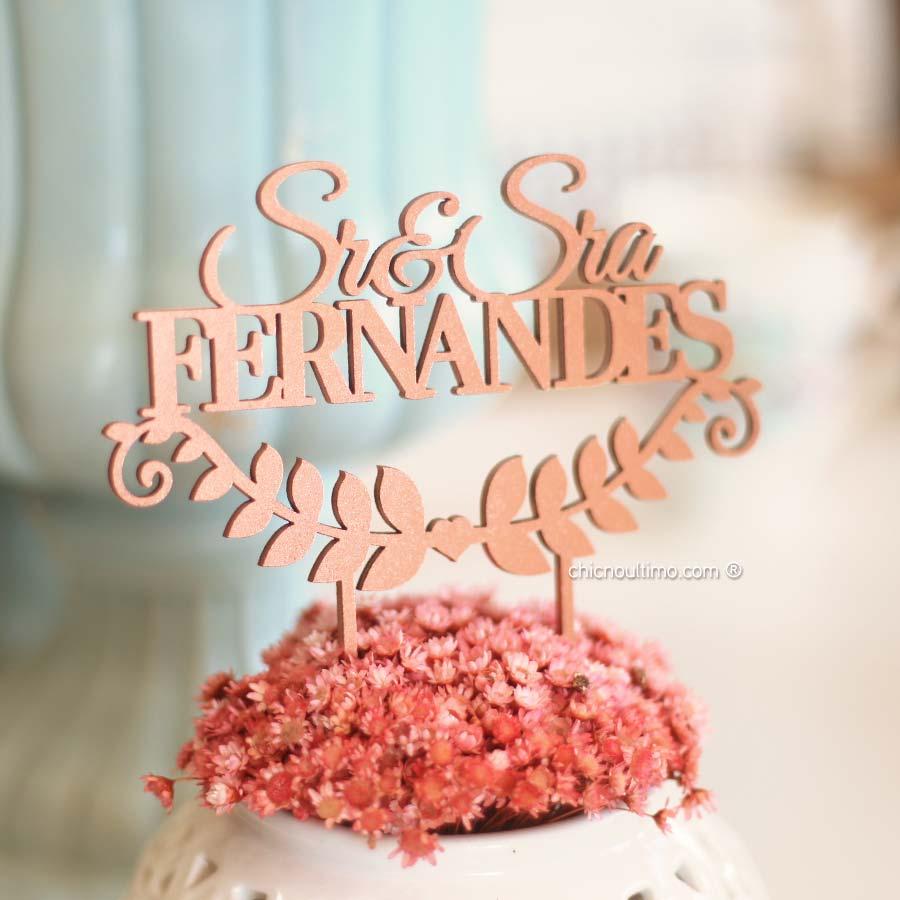 Sr e Sra - Topo de bolo personalizado de madeira