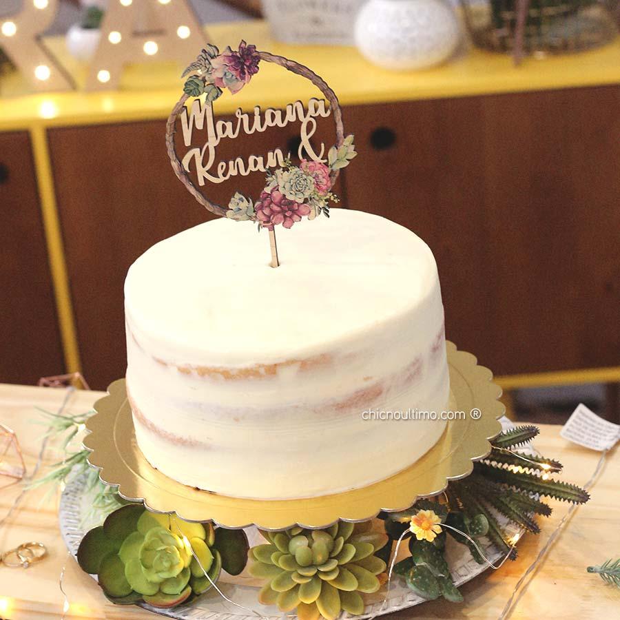 Suculentas - Topo de bolo estampado