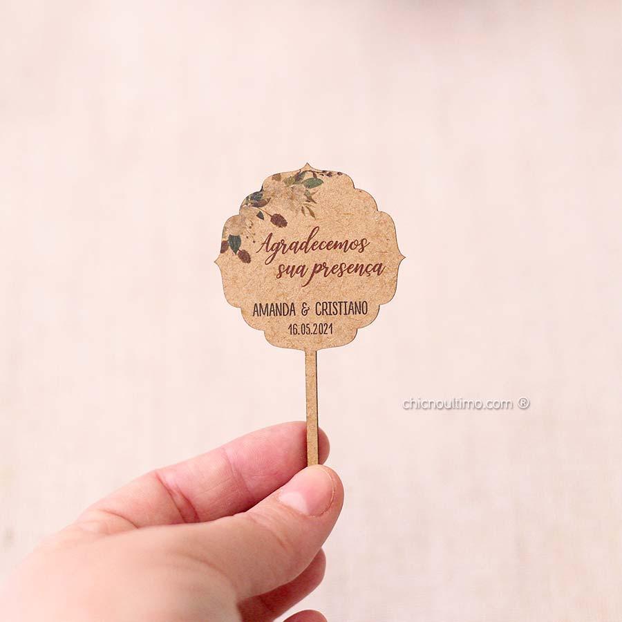 Terracota - Tag madeira lembrança - espetar
