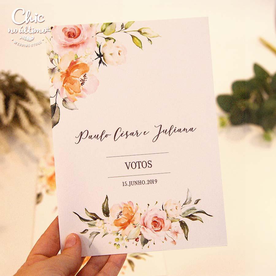 Votos de Casamento - Modelo Roses Blush (2 unidades)