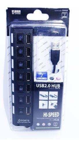 Hub 7 Portas Usb 2.0 Com Switch E Led Indicador