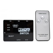 Adaptador Switch Hdmi 3x1 Full Hd C/ Controle Remoto