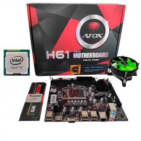 Kit Upgrade Gamer Processador Intel I3 + Placa Mãe H61+ Memória Ram 8GB + Cooler