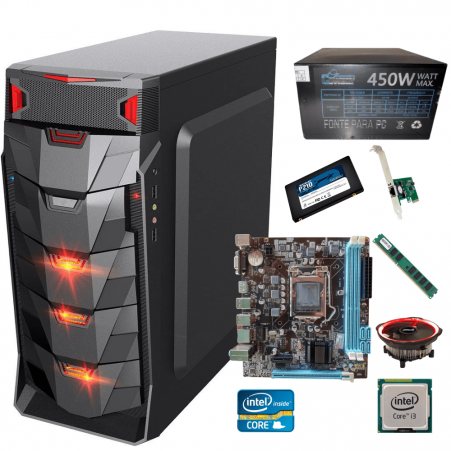 Pc  Gamer I3 +  Ram 4gb +  Ssd 256gb + Fonte Gamer 450w +  Gabinete Led  + Cooler Led Barato
