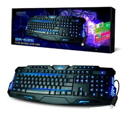 Teclado Gamer Bk-g35 Usb Luminoso 3 Cores E Teclas Atalho