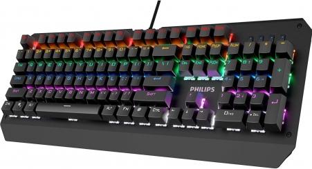 Teclado Gamer Mecânico Philips Led Rgb Spk8413 Teclas Macias