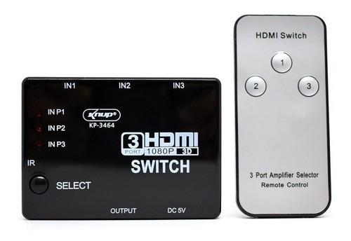 Adaptador Switch Hdmi 3x1 Full Hd C/ Controle Remoto