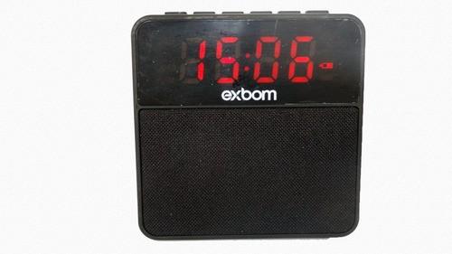 Caixa Som Bluetooth Rádio Relógio Despertador Led Fm Sd P2