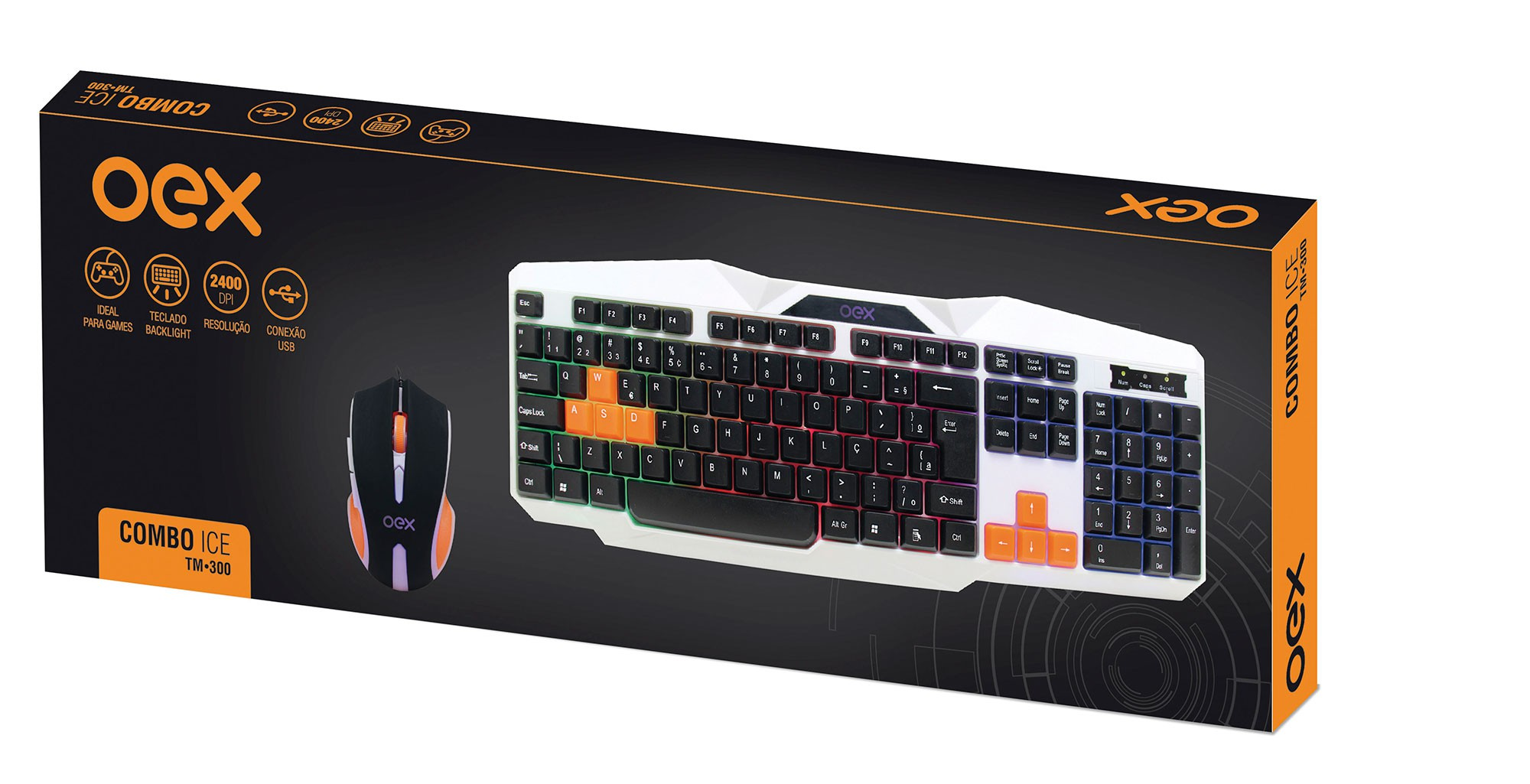Combo Teclado E Mouse Gamer Ice Tm300 Oex