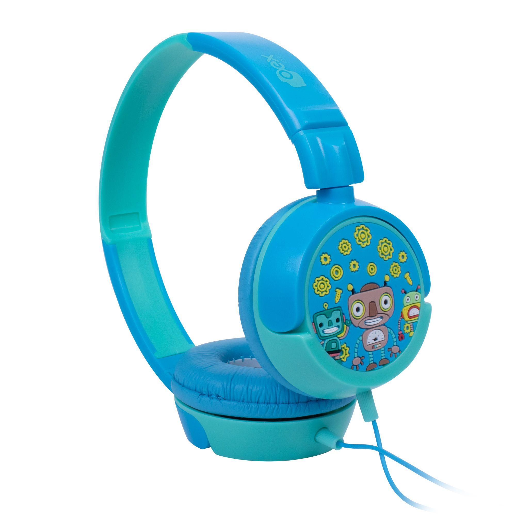 Headphone Fone De Ouvido Kids Criança Robos Azul Hp-305