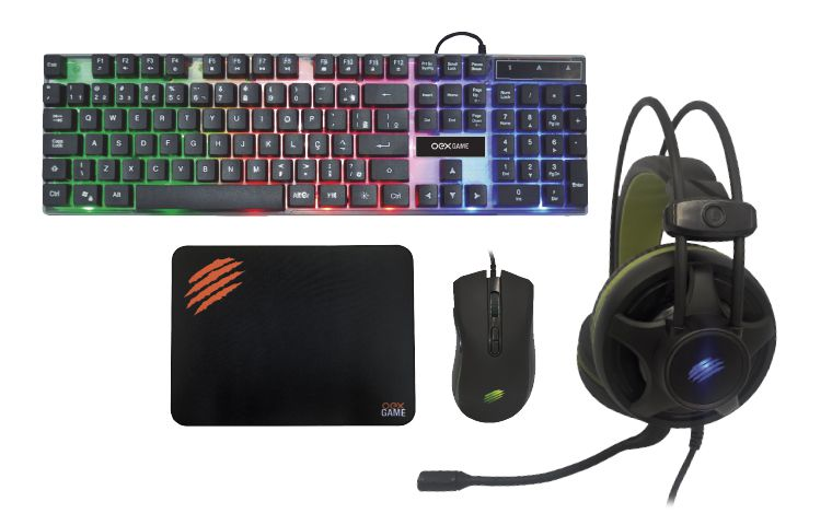 Kit Gamer Mouse, Teclado, Headset, Mousepad Oex Argos Tm304
