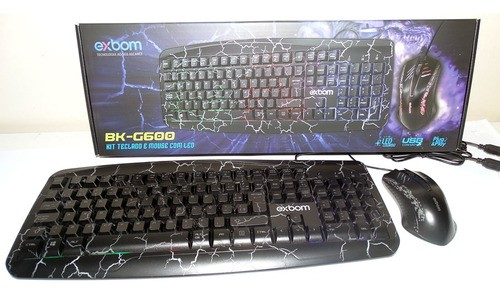 Kit Teclado Mouse Gamer Pc Usb Abnt2 Led Colorido Rgb Preto
