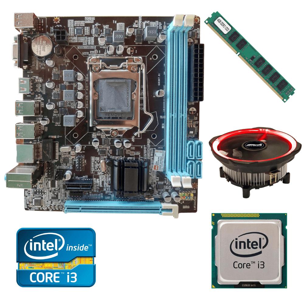 Kit Upgrade Gamer Processador Intel I3  2120 + Placa Mãe H61+ Memória Ram 4GB + Cooler Processador Led