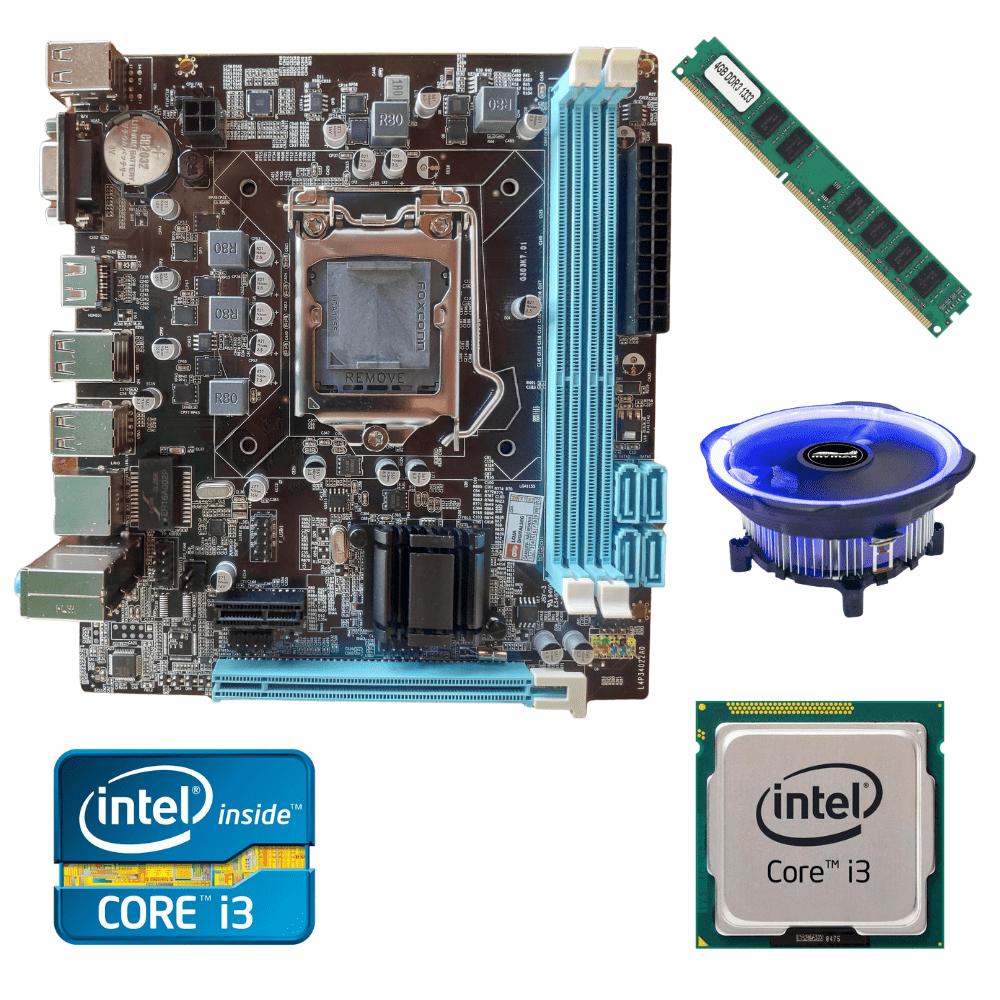 Kit Upgrade Gamer Processador Intel I3 + Placa Mãe H61+ Memória Ram 4GB + Cooler Processador Led