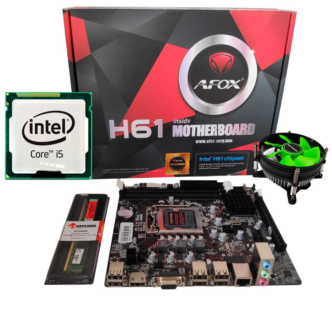 Kit Upgrade Gamer Processador Intel I5 + Placa Mãe H61+ Memória Ram 8GB + Cooler