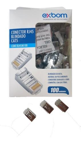 Pacote 100 Peças Conector Rj45 Blindado 8 Vias Cat5e Exbom