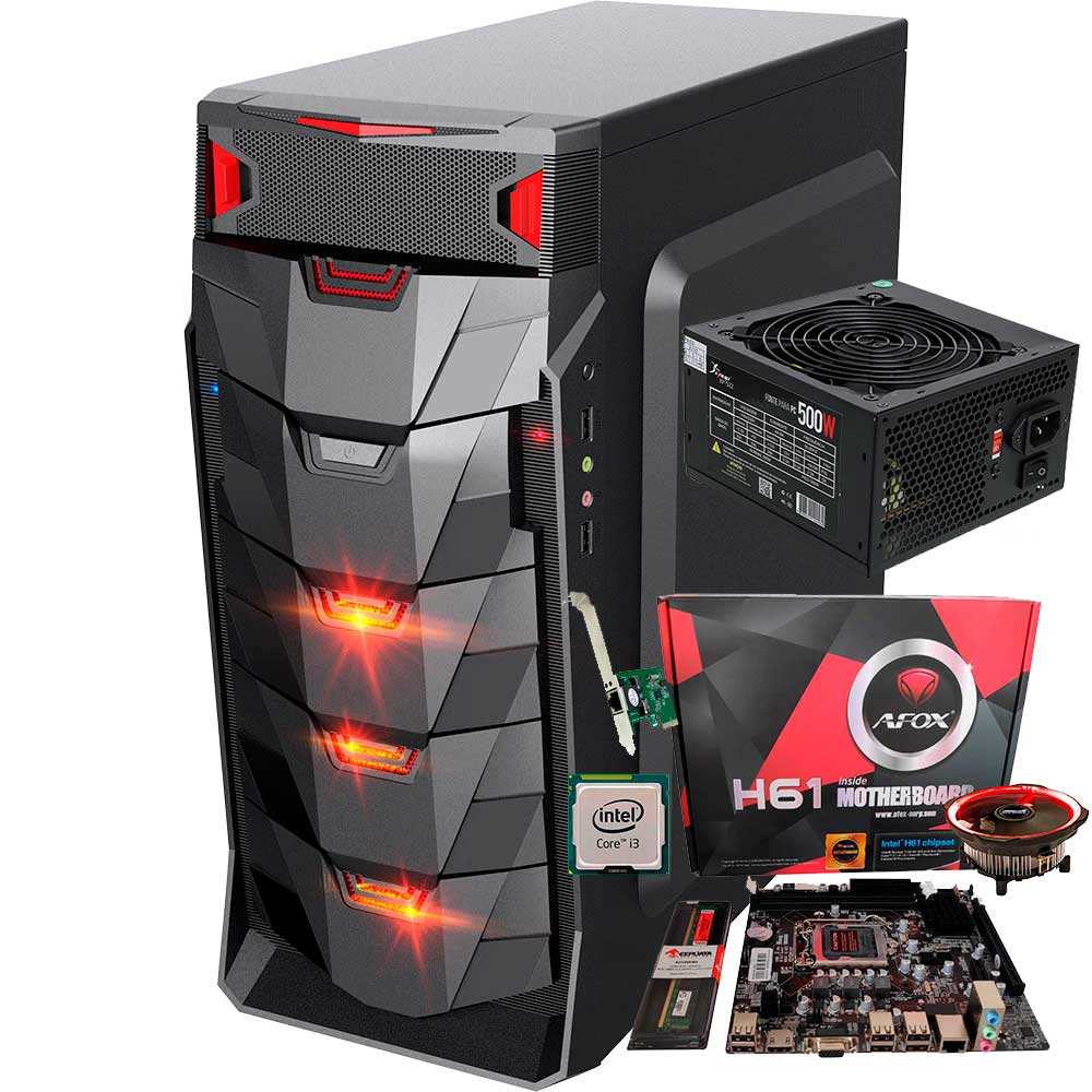 Pc  Gamer I3 +  Ram 4gb +  Ssd 256gb + Fonte 500w +  Gabinete Led  + Cooler Led Barato