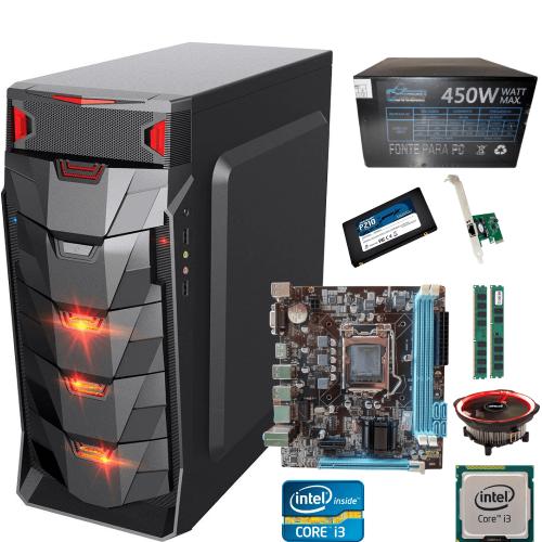 Pc  Gamer I3 +  Ram 8gb +  Ssd 256gb + Fonte Gamer 450w +  Gabinete Led  + Cooler Led Barato
