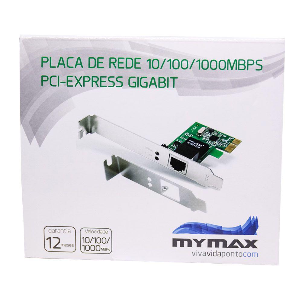 Placa De Rede 10/100/1000mbps Pci Express Gigabit Mymax