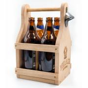 Engradado artesanal em madeira maciça - 4 garrafas