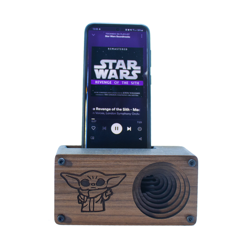 Caixa Amplificadora para celular - modelo Baby Yoda