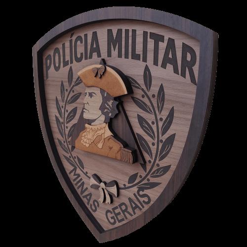 Escudo de madeira da Polícia Militar de Minas Gerais - 35cm